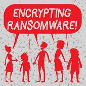 Word Writing Text Encrypting Ransomware. Business Concept For Malware That Limits Users From Accessi poster
