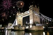 Fireworks Celebration Over Tower Bridge At Night