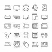 Laptop, Ssd, Computer Components Line Icons. Motherboard, Cpu, Internet Cables Icons. Wifi Router, C poster