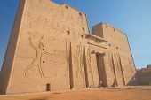 picture of horus  - Pylon at Horus Temple with egyptian hieroglyphs  - JPG