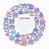 Election And Voting Concept In Circle With Thin Line Icons: Voters, Ballot Box, Inauguration, Corrup poster
