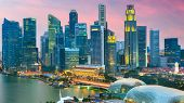 Singapore city skyline from above at twilight. poster