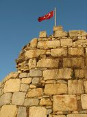 Flag On Ancient Fortress