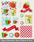 Patrones de repetición bastante fresas e iconos. Utilizar para imprimir sobre tela para textiles para el hogar, mermelada haciendo