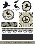 pic of cameos  - Ornate gothic vector elements for creating fabulous goth or Halloween textiles or craft projects - JPG