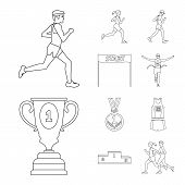 Vector Illustration Of Exercise And Sprinter  Sign. Set Of Exercise And Marathon Vector Icon For Sto poster
