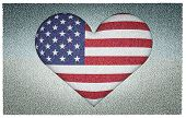 foto of dimentional  - US flag in heart shape to created from three dimention program - JPG
