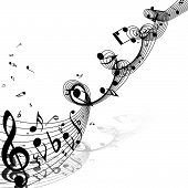 Musical Design From Music Staff Elements With Treble Clef And Notes With Copy Space. Shadow With Tra poster
