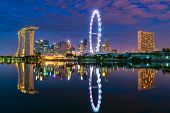 Singapore Cityscape At Dusk. Landscape Of Singapore Business Building Around Marina Bay. Modern High poster