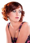 Single Cute Red Haired Girl Isolated