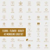 Lotus Flower Logo Collection Abstract Beauty Spa Salon Cosmetics poster