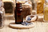 Lavender essential oil with dry lavendula flovers on wooden spoon with other herbs in background