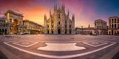 Milan, Italy. Panoramic Cityscape Image Of Milan, Italy With Milan Cathedral During Sunrise. poster