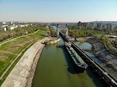 Volgograd, Ship, Tanker, Ship, Volga-don Ship Canal, City, Ship, Gateway, Canal, Shipping, City Pano poster