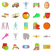 Yard Entertainment Icons Set. Cartoon Set Of 25 Yard Entertainment Icons For Web Isolated On White B poster