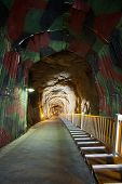 stock photo of andong  - The steep entrance to Andong Tunnel a former military shelter that runs down 641 meters over 464 steps - JPG
