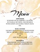 Hend-drawn Wedding Menu Template. Beautiful Tender Watercolor Splashes In Yellow Color With Typograp poster