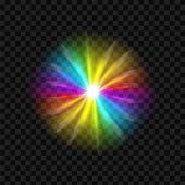 Creative Vector Illustration Of Rainbow Glare Spectrum Isolated On Transparent Background. Art Desig poster