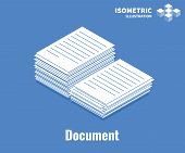 Document Icon. Pile Of Documents, Stack Of Business Paper. Vector 3d Illustration Isolated On Blue B poster