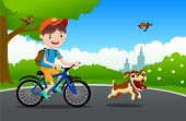 Vector Illustration Of Happy Child And Dog Are Playing In Playground.the Boy Walks In The Park With  poster