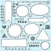 Sketchy Frames and Borders Hand-Drawn Notebook Doodles Set- Vector Illustration Design Elements on L