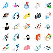 Academic Degree Icons Set. Isometric Set Of 25 Academic Degree Icons For Web Isolated On White Backg poster