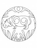 Hippo Pattern. Illustration Of Hippopotamus. Mandala With An Animal.  Hippo In A Circular Frame. Col poster