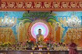 stock photo of vihara  - Buddha Altar Inside Mangala Vihara Buddhist Temple in Singapore - JPG