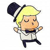 freehand drawn textured cartoon of kawaii cute prom boy poster