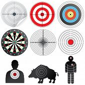 Vector Targets Set. Illustration of Paper Target, Archery Target, Darts board, Range Target, Human and Wild Boar Dummy