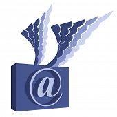Email symbol with wings.