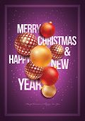 Vector Christmas and New Year design template. For christmas party poster, greeting card or flyer. All elements are grouped and layered in vector file.