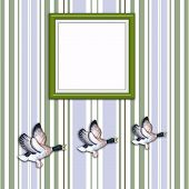 Three Flying Ducks With Blank Picture Frame