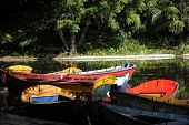 Brightly Coloured Rowing Boats