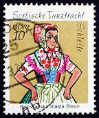 Постер, плакат: Почтовая марка ГДР 1971 сорбского танец костюм Олимпиада