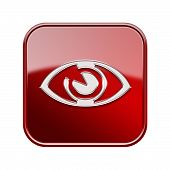 Eye Icon Glossy Red, Isolated On White Background.