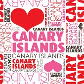 I love Canary Islands seamless typography background pattern in vector