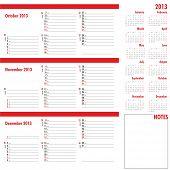 Vector Planner For 2013 -three Month Calendar
