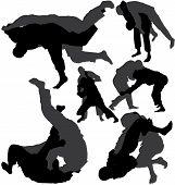 Jiu-jitsu (jujitsu) and judo wrestlers vector silhouettes