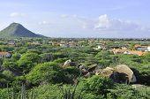 Cactos paisagem vista da formação de rocha sobre, Aruba
