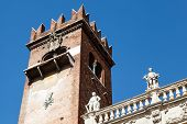 Bell Tower On Piazza Delle Erbe In Verona, Veneto, Italy