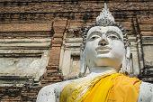 White Buddha Image In Wat Yai Chai Mongkon Ayutthaya, Thailand