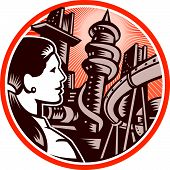 Futurist City Woman Side Circle Woodcut