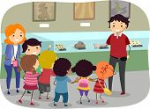 Stickman Illustration Featuring Kids on a Trip to the Museum