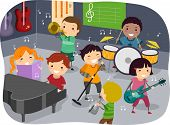 stock photo of stickman  - Stickman Illustration Featuring Kids Playing with Different Musical Instruments in a Music Room - JPG