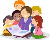 Stickman Illustration Featuring Kids Huddled Together While Listening to the Teacher Reading a Story