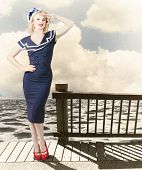 Fine Art Vintage Pin-up. Vacation Departure Dock
