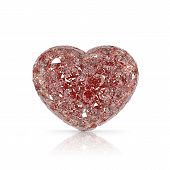 Diamonds Heart Shaped Gemstone Isolated On White Background