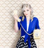 Retro Portrait Of A Woman Talking On Vintage Phone