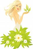 Vector Illustration Of Pretty Young Blonde Girl
